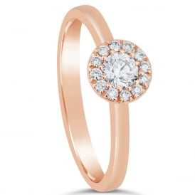 18ct Rose Gold Diamond Set Cluster Ring