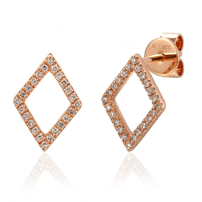Ntinga 18ct Rose Gold Diamond Shaped Diamond Stud Earrings