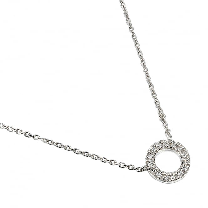 Ntinga 18ct White Gold Diamond Set Small Circle Necklace