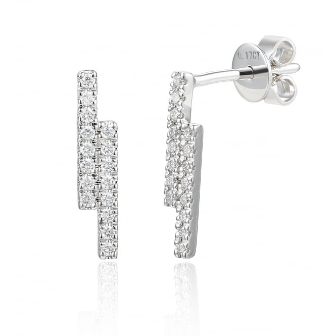 Ntinga 18ct White Gold Double Bar Diamond Stud Earrings