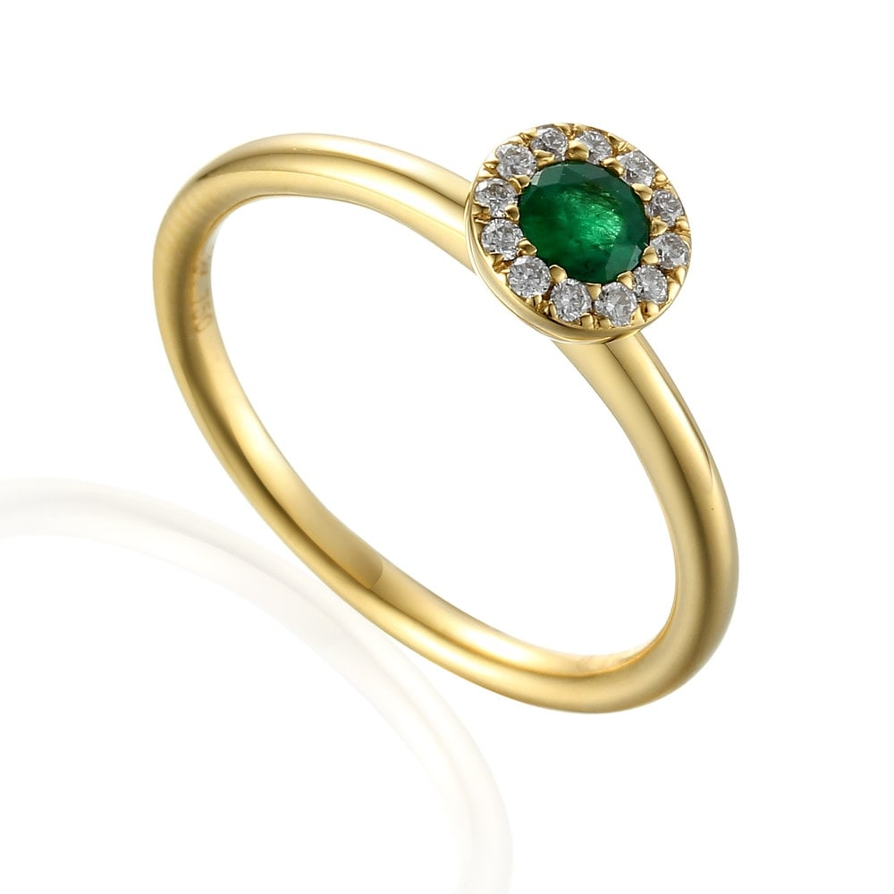 82727775d8514 18ct Yellow Gold Emerald   Diamond Halo Engagement Ring