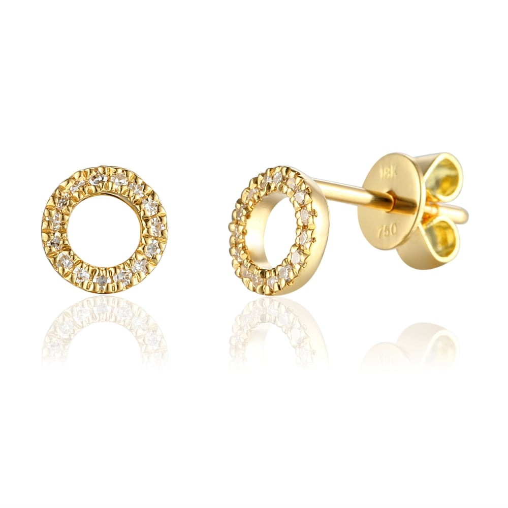 1418bfe5728c 18ct Yellow Gold Open Circle Diamond Set Stud Earrings