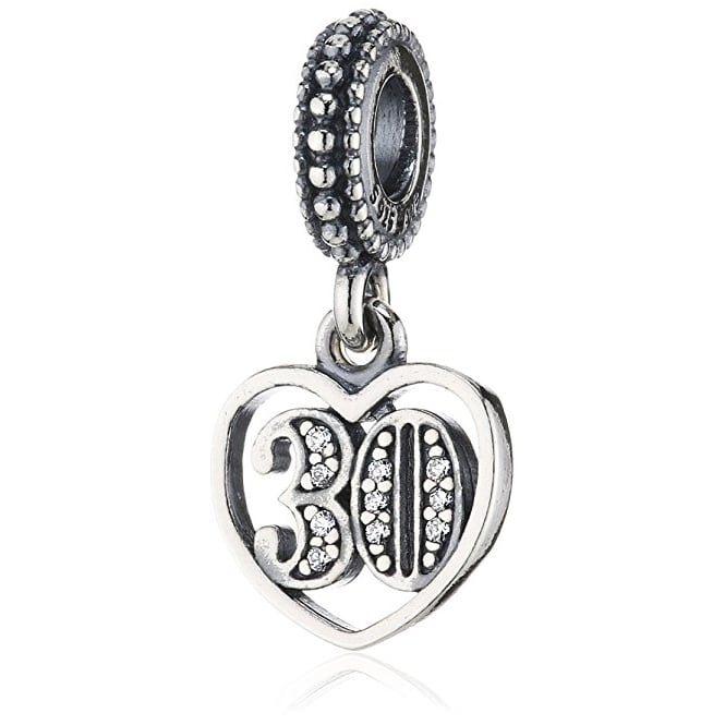 Pandora Sterling Silver '30' Cubic Zirconia Pendant Charm