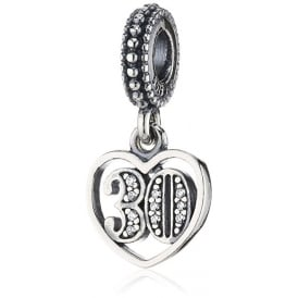 Sterling Silver '30' Cubic Zirconia Pendant Charm