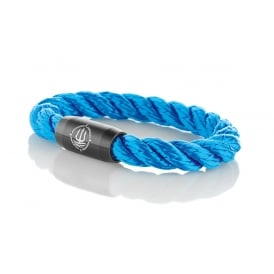 Blue 8mm Twisted Rope Bracelet With Black Clasp