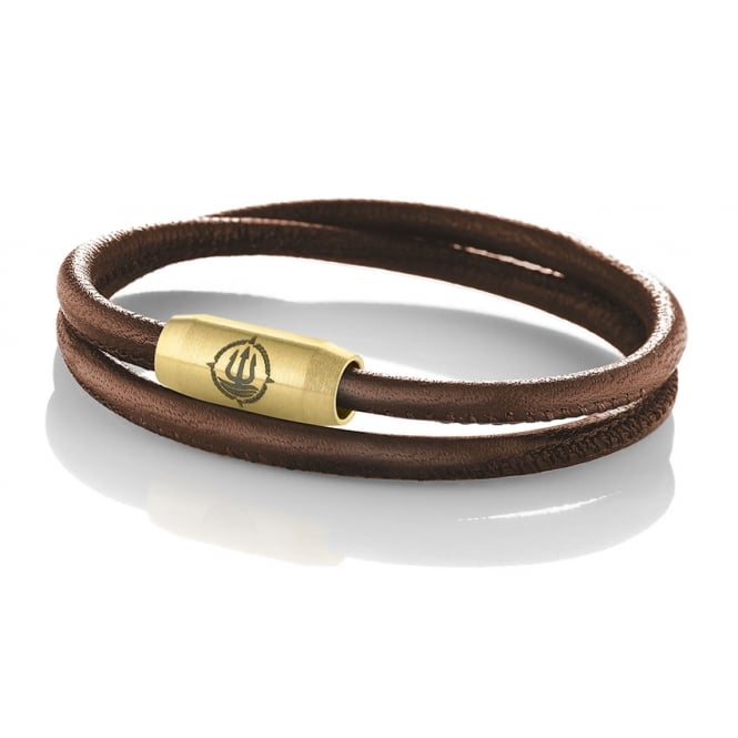Q-Sportz Brown Seamed Leather 4mm Double Wrap Bracelet