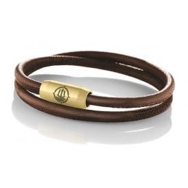 Brown Seamed Leather 4mm Double Wrap Bracelet