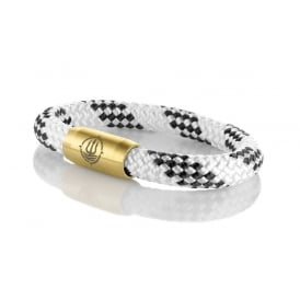 White & Black 8mm Plaited Rope Bracelet With Gold Clasp