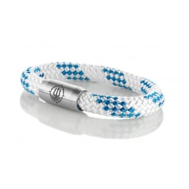 White & Blue 8mm Plaited Rope Bracelet With Silver Clasp