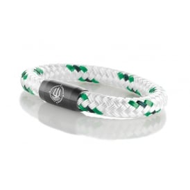 White & Green 8mm Patterned Rope Bracelet With Black Clasp