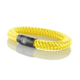 Yellow 8mm Plaited Rope Bracelet With Black Clasp
