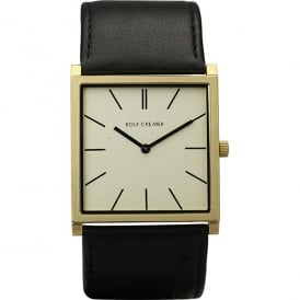 Black Leather & Cream 'Street' Watch