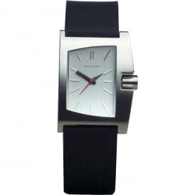 Black Leather Irregular Shaped Watch