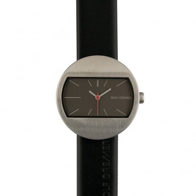 Rolf Cremer Black Leather & Stainless Steel 'Moment' Watch