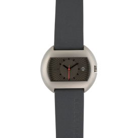Grey Leather Strap Rectangular Watch