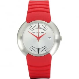 Red Rubber Strap 'Compact' Watch