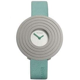 Turquoise Leather Round Face 'Solea' Watch
