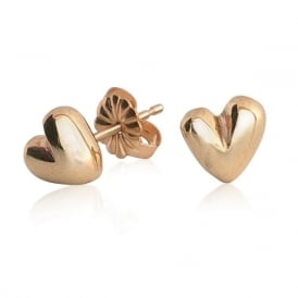 9ct Yellow Gold Sweetheart stud earrings
