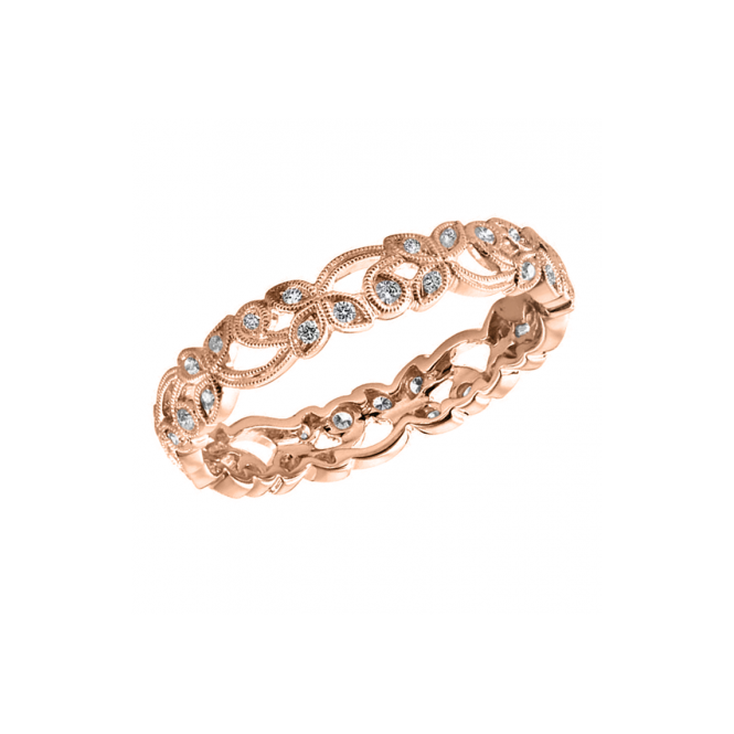 Ungar & Ungar 18ct Rose Gold Floral 0.20ct Diamond Wedding Ring