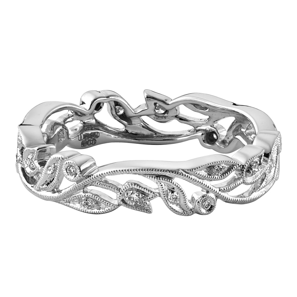 18ct White Gold 0 12ct Vintage Floral Wedding Ring