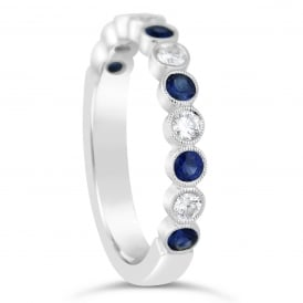 18ct White Gold Diamond & Sapphire Vintage Ring