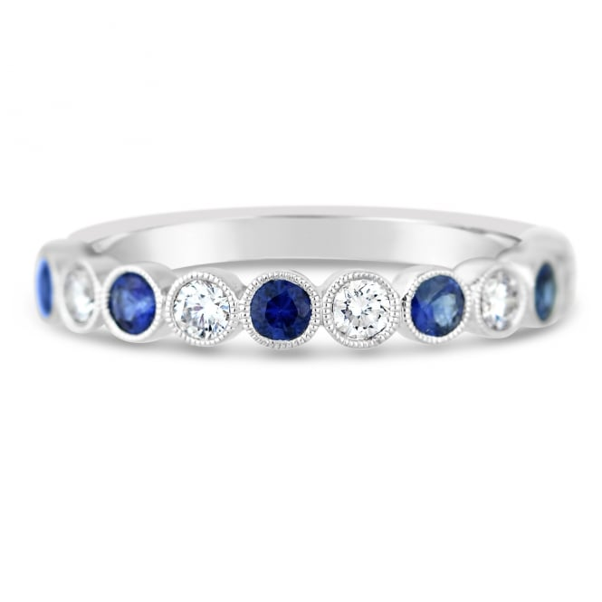 Ungar & Ungar 18ct White Gold Diamond & Sapphire Vintage Ring