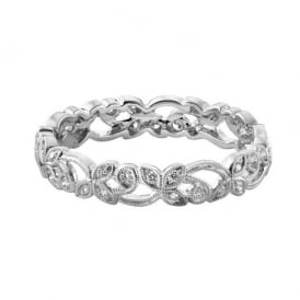 18ct White Gold Floral 0.20ct Diamond Wedding Ring