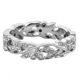 18ct White Gold Floral 0.28ct Diamond Wedding Ring