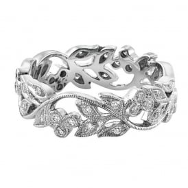 18ct White Gold Floral 0.34ct Diamond Wedding Ring