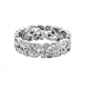 18ct White Gold Floral 0.38ct Diamond Wedding Ring