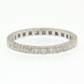 18ct White Gold Vintage Eternity/Wedding Ring with 0.36ct Diamonds