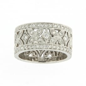 18ct White Gold Vintage Floral Wedding Ring with 1.06ct Diamonds