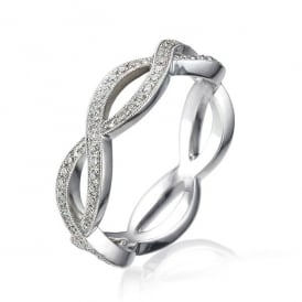 18ct White Gold Vintage Wedding Ring with 0.26ct Diamonds
