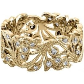 18ct Yellow Gold 0.41ct Diamond Floral Wedding Ring