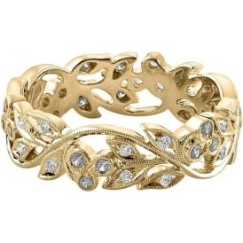 18ct Yellow Gold Wide Floral Wedding Ring