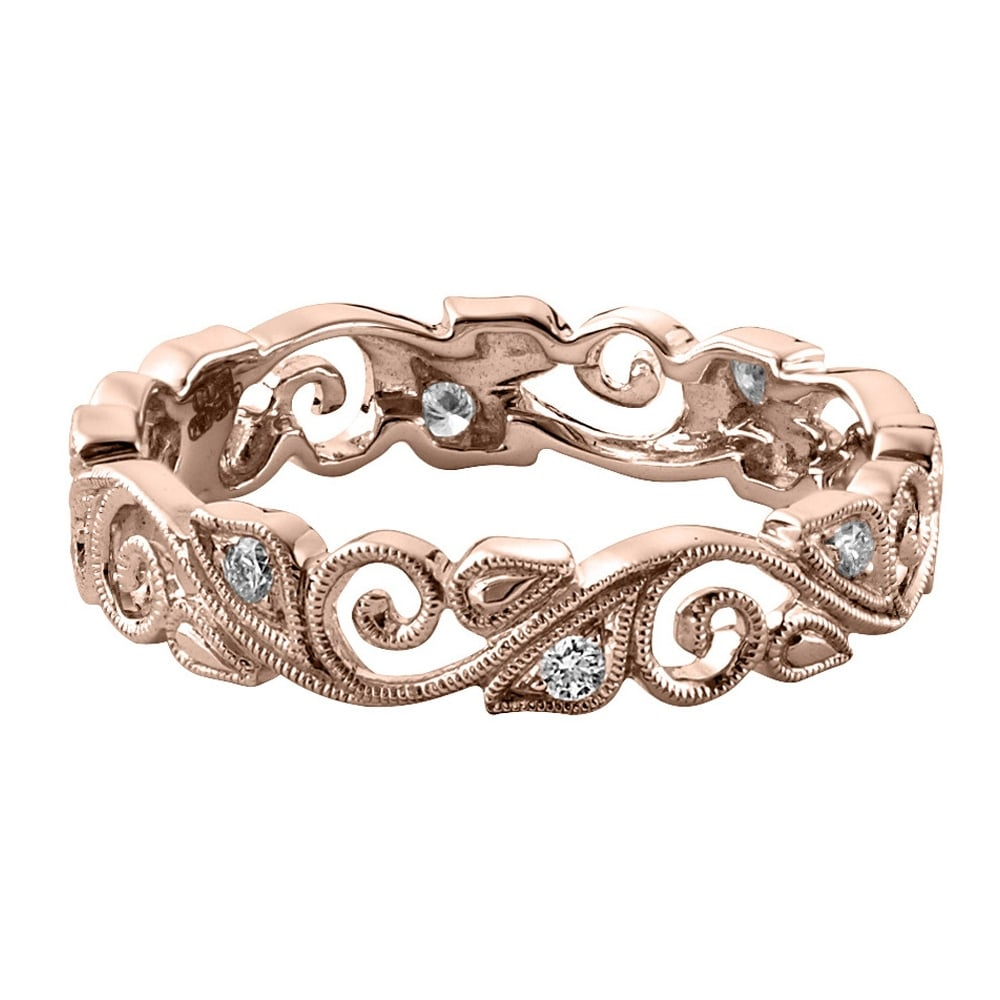 18ct Rose Gold Vintage Floral Wedding Ring