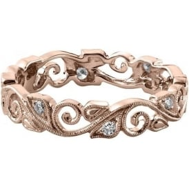 Womens 18ct Rose Gold Vintage Floral Wedding Ring