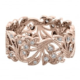 Womens 18ct Rose Gold Wide Floral Ring