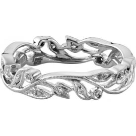 Womens 18ct White Gold Vintage Floral Wedding Ring