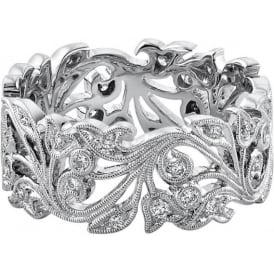 Womens 18ct White Gold Wide Floral Wedding Ring