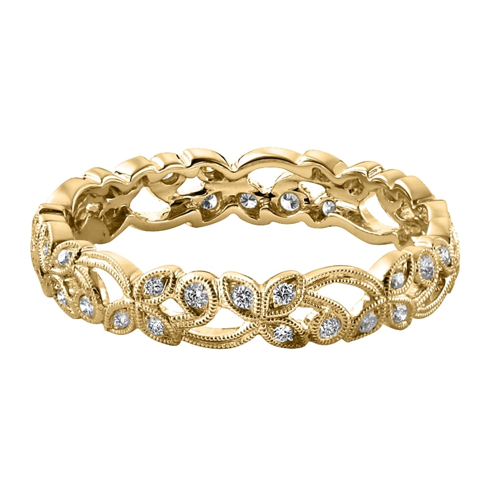Womens Floral 18ct Yellow Gold 0 20ct Diamond Wedding Ring