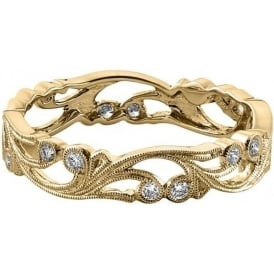 Womens 18ct Yellow Gold Small Floral Wedding Ring