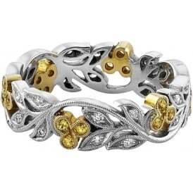 Womens Platinum & 18ct Yellow Gold Floral Wedding Ring