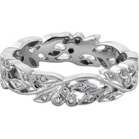 Womens Platinum Floral Wedding Ring