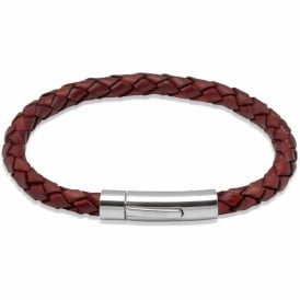 Mens Antique Tan Leather Bracelet With Steel Clasp