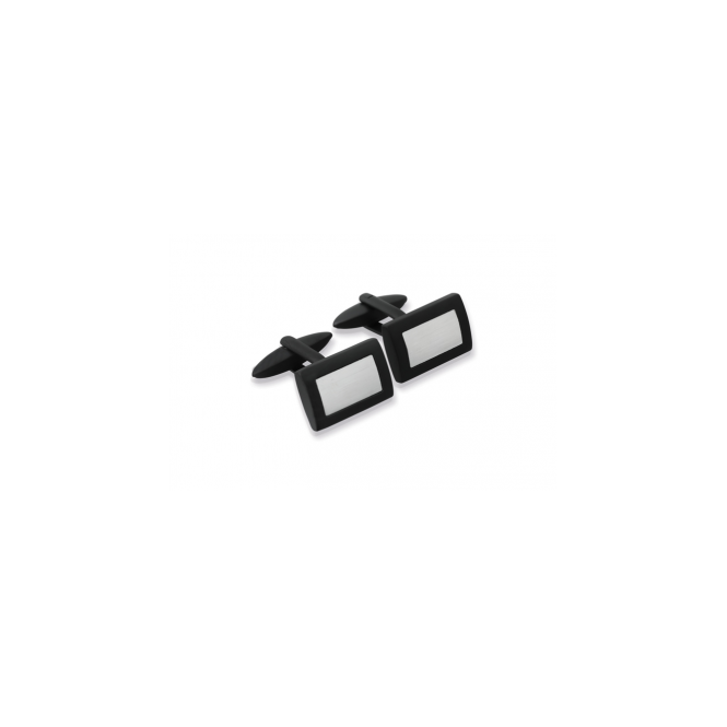 Unique & Co Mens Black Ion & Stainless Steel Rectangular Cufflinks