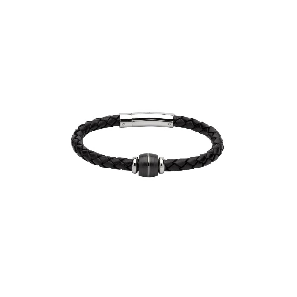 on leather jewel wire carbon unique hut the more black bracelet steel mens magnetic and braided