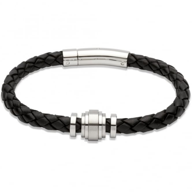 Unique & Co Mens Black Leather Steel Element Bracelet