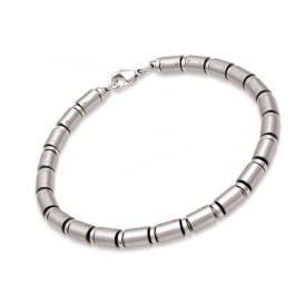 Mens Silver Two Tone Stainless Steel Bracelet - 19cm