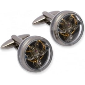 Mens Silver Watch Movement Cufflinks